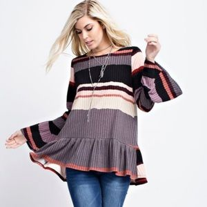 Tops - Multi striped solid color block rubbed pleated top